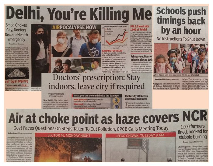 Smog Chokes City, Doctors Declare Health Emergency – TOI 8th Nov 2017