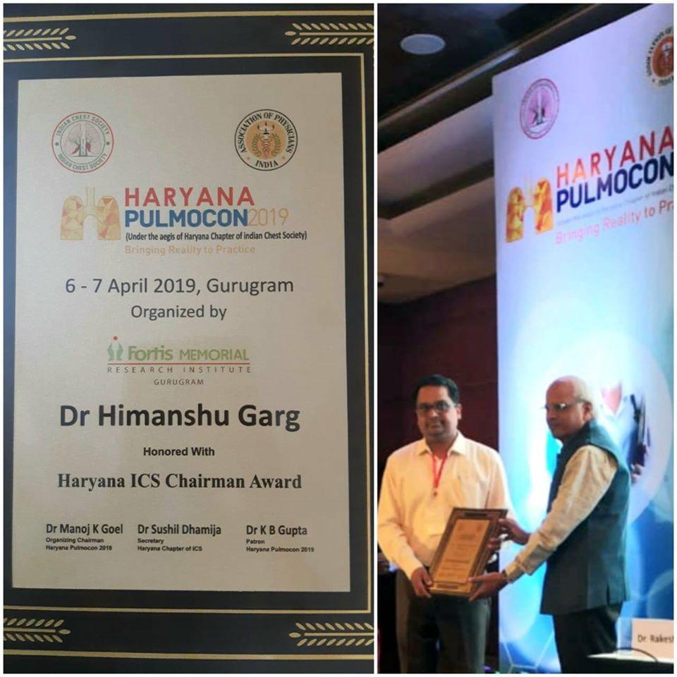 Dr. Himanshu Garg Honored with Haryana ICS Chairman Award