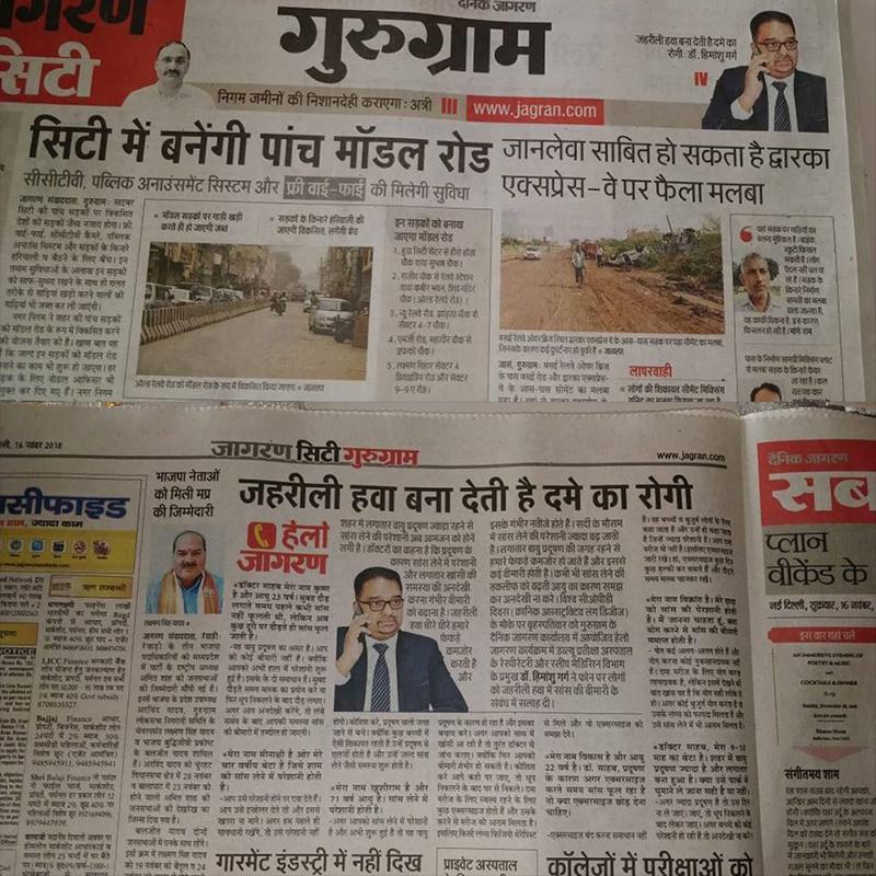 Jagran City Gurugram Edition Covers Dr. Himanshu Garg