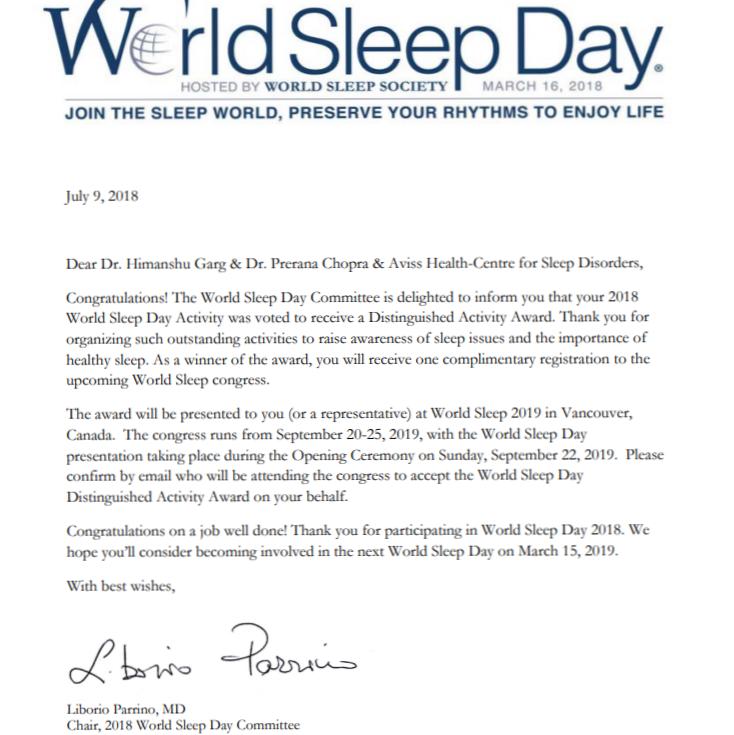 World Sleep Day 2018 Distinguished Activity Award Winner